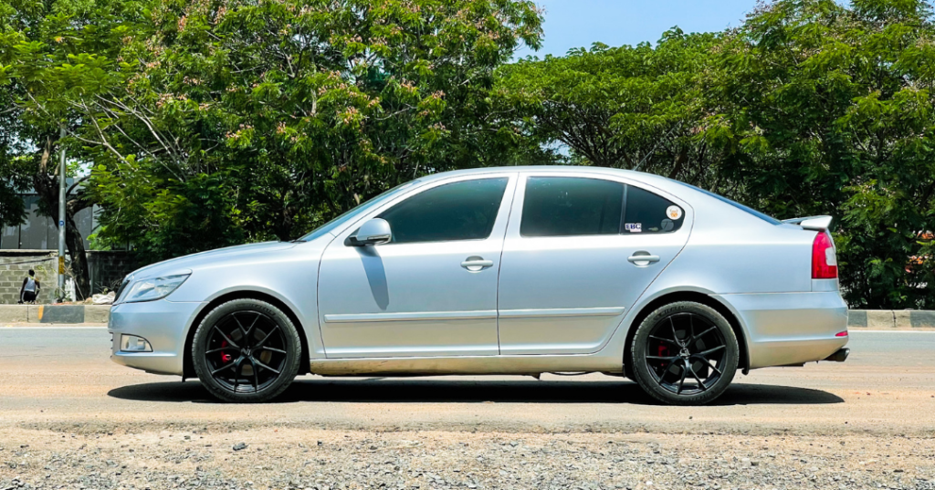 """Modified Skoda Laura with 17"""" Lenso Rims Wrapped in Michelin Pilot Sport 4 Rubber"""